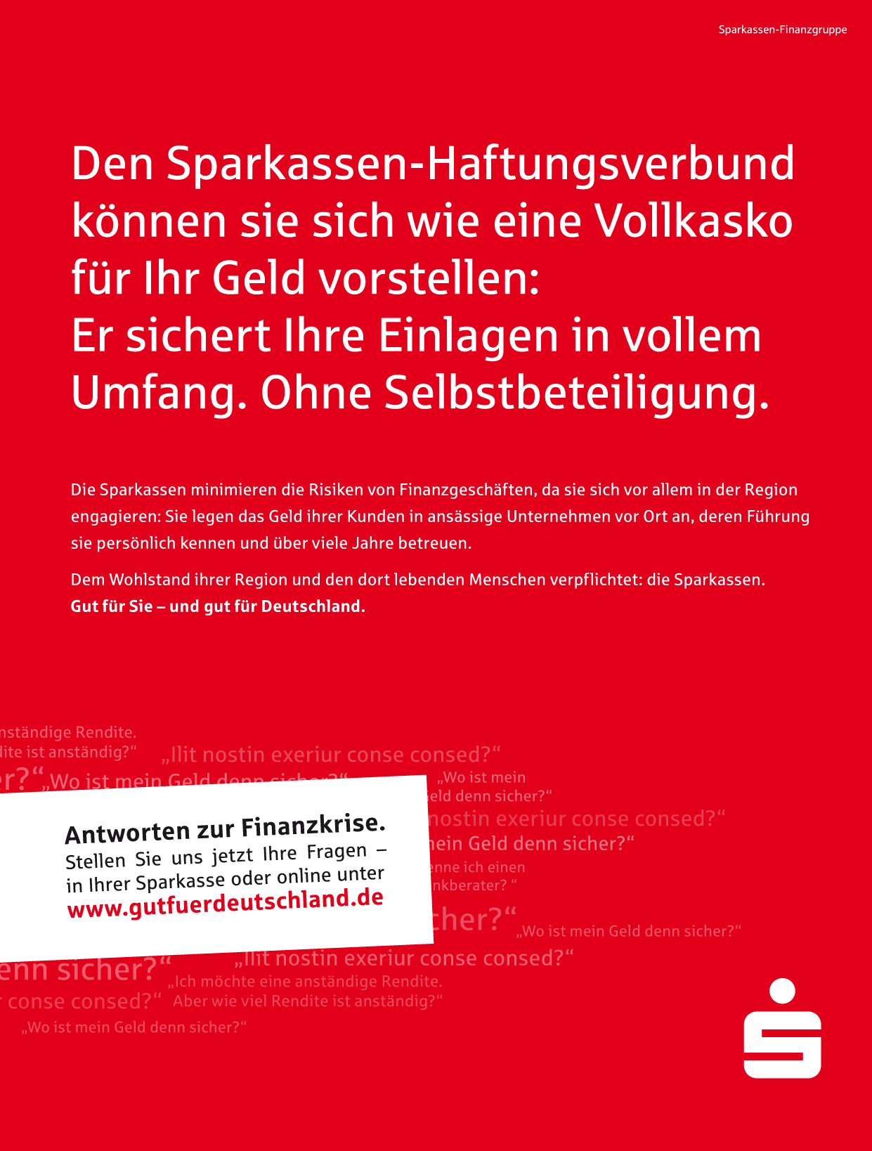 Headline Printanzeige Sparkasse Imagekampagne