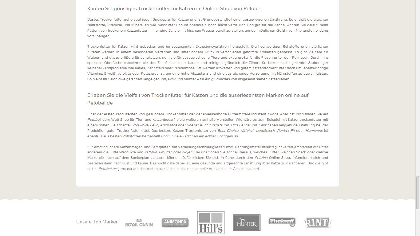 SEO Text / Web Content - Petobel - Katzen Trockenfutter