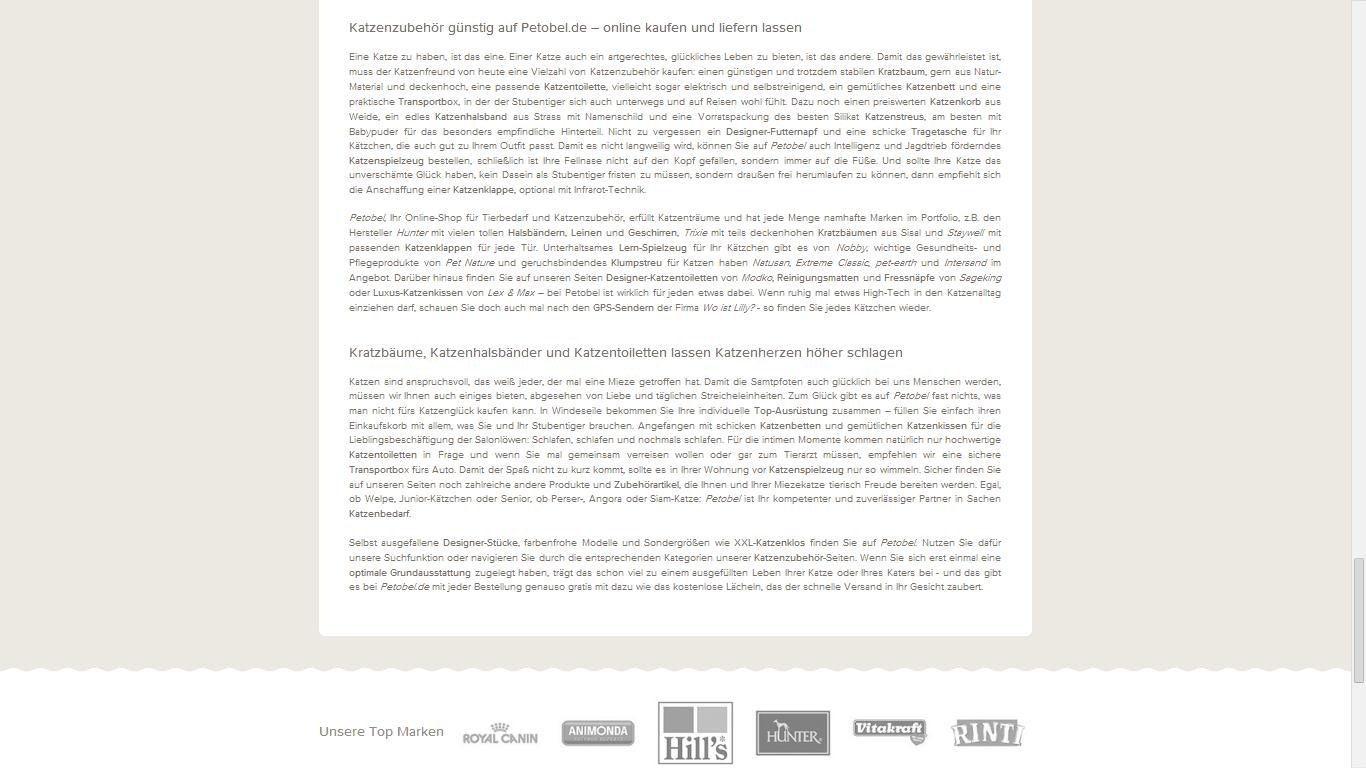 SEO Text / Web Content - Petobel - Katzen Zubehör